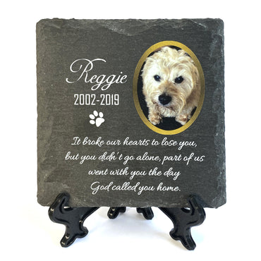 Personalised Natural Slate Plaque Pet Memorial 10x10 cm
