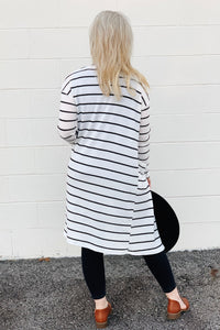 chilly nights black and white striped knee length soft waffle material long sleeve duster