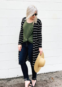 long sleeve black and white striped cardigan duster