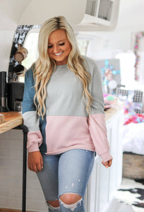 just a casual day colorblock pullover