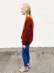 girl on the go striped sweater