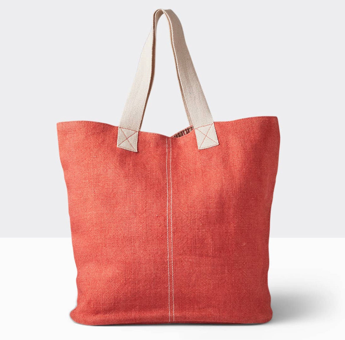 the washed linen tote - coral