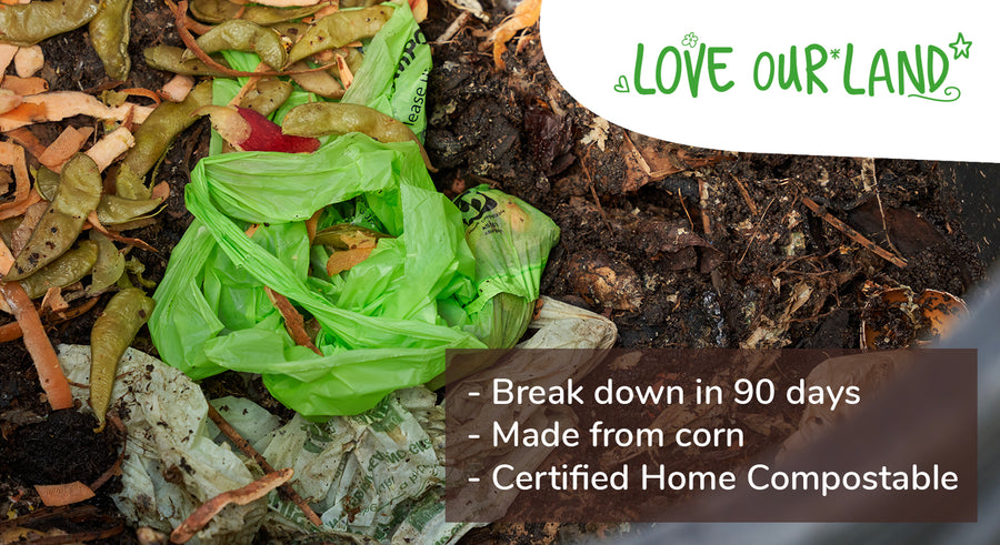 Love Our land compostable bags breaking down in a home compost