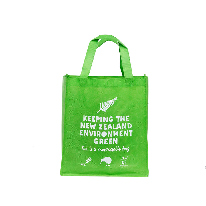 Compostable Re-Useable bag. Great for doing your shopping with as it's super durable and strong. Picture of bag front on.