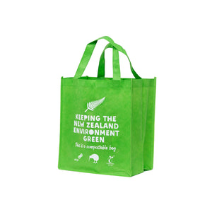 Compostable Re-Useable bag. Great for doing your shopping with as it's super durable and strong. Picture of bag side front on.