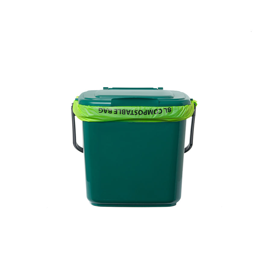 7L Kitchen Caddy for collecting your kitchen food scraps. Picture of bin with 8L compostable bag.