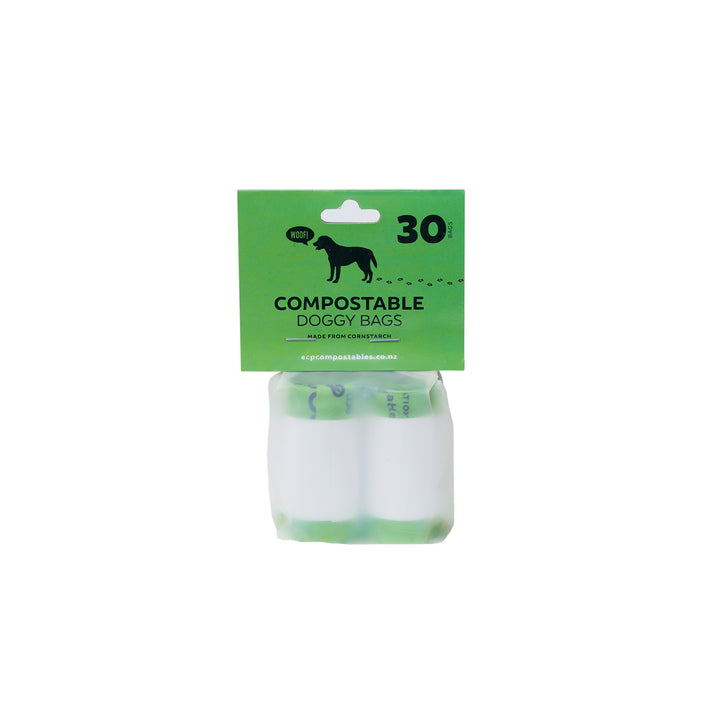 Compostable Doggie Poo Bags. Take these corn based doggie poo bags on your next doggie walk. A great alternative to plastic doggie poo bags. Picture of pack.