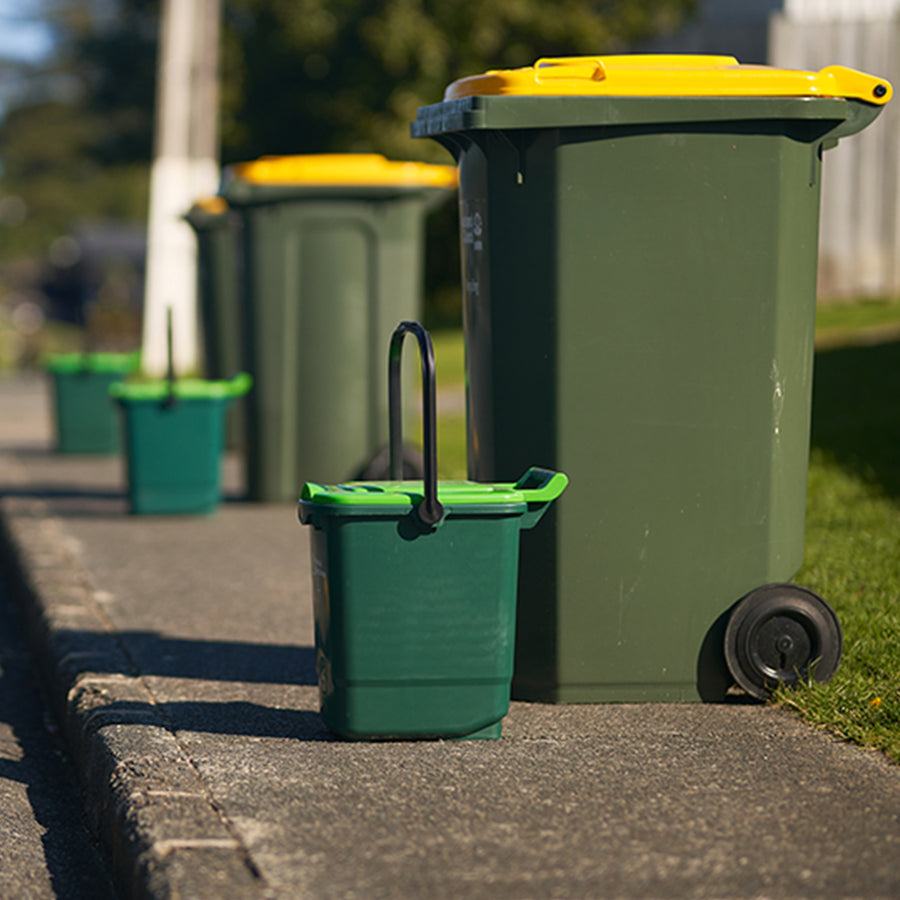 23L Kerbside Food Waste Collection Bin. ECP are the main supplier to councils. This picture shows the bins at the roadside waiting to be emptied for composting.