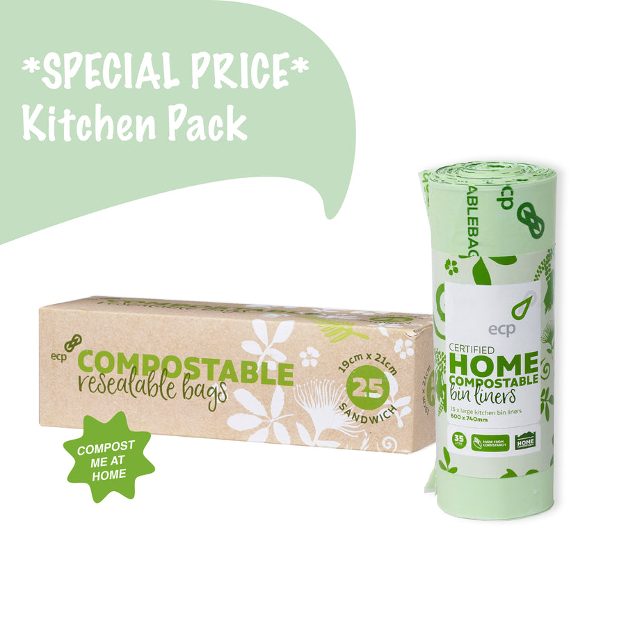 Compostable kitchen pack containing compostable zip lock bags and compostable 35L kitchen bin liners