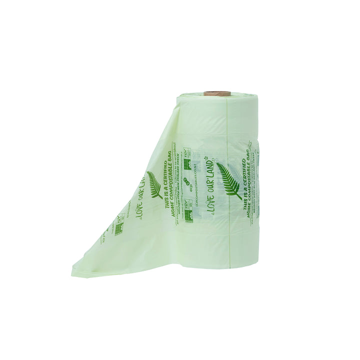 Home Compostable Produce Barrier Bags by Love Our Land. Perfect for carrying your fruit and veggies home from the supermarket. This is a picture of the roll front on.