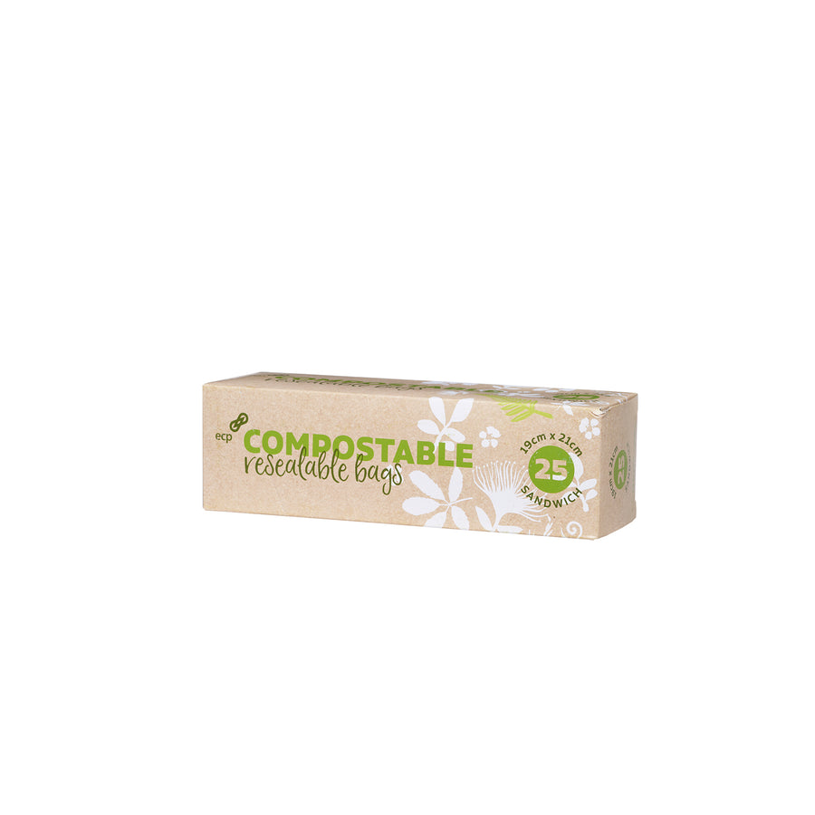 Compostable Zip Lock bags. Great for sandwiches and snacks on the go. These are certified Home Compostable. Picture of box front on.