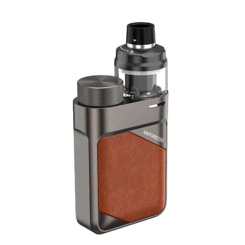 Swag PX80 Kit By Vaporesso in Leather Brown, for your vape at Red Hot Vaping
