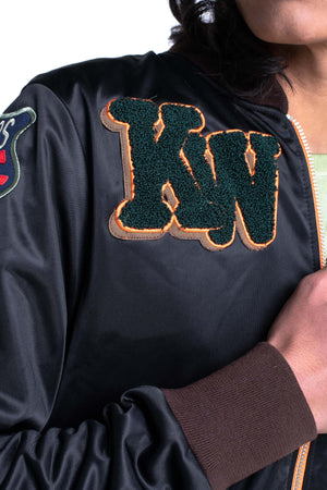 MENS KW BASEBALL JACKET - BLACK