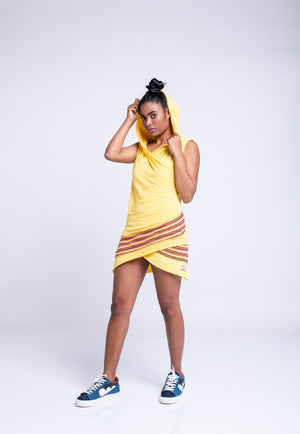 POWERED GODESSA HOODIE DRESS - YELLOW