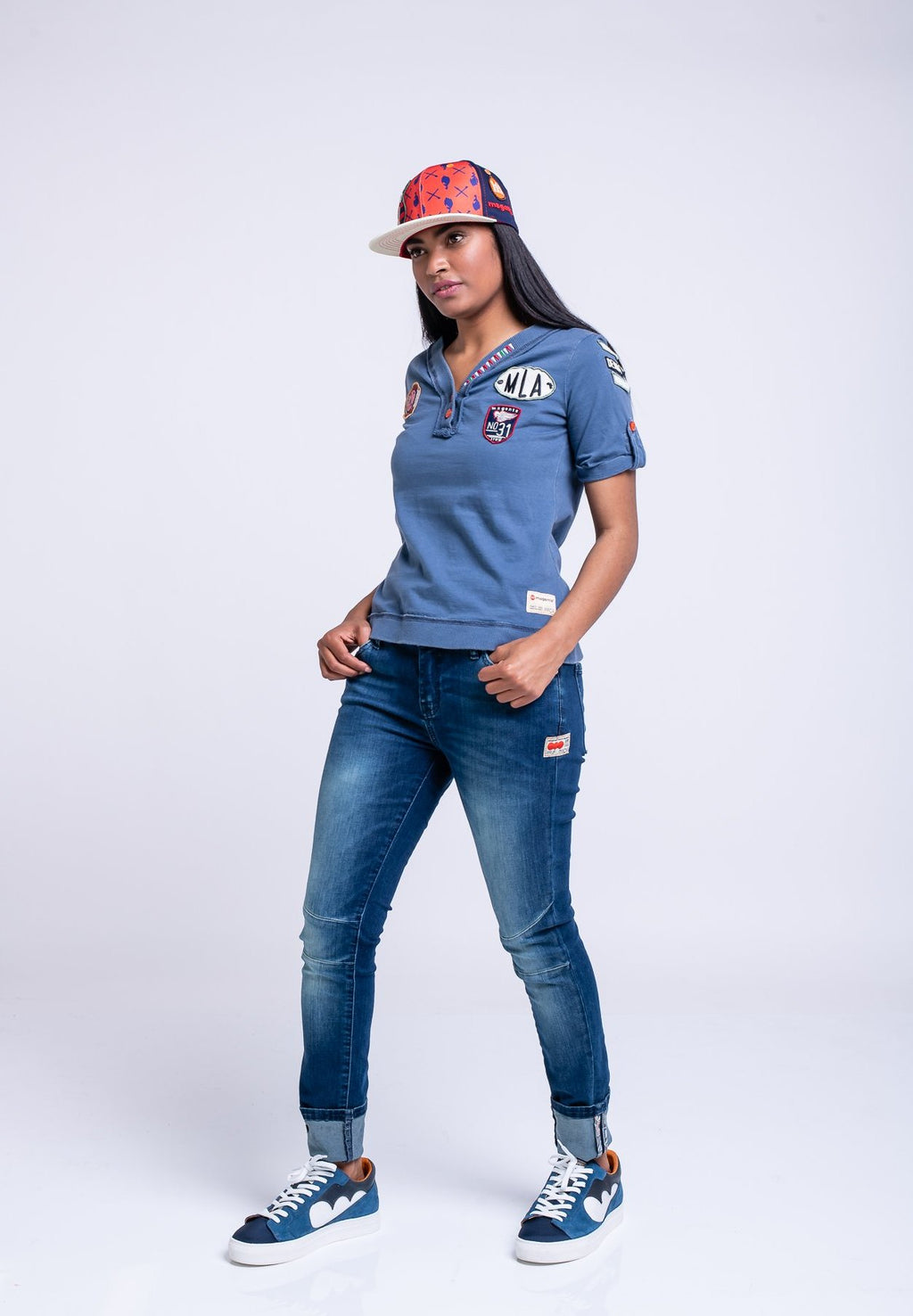 LADIES BADGES TEE - BLUE