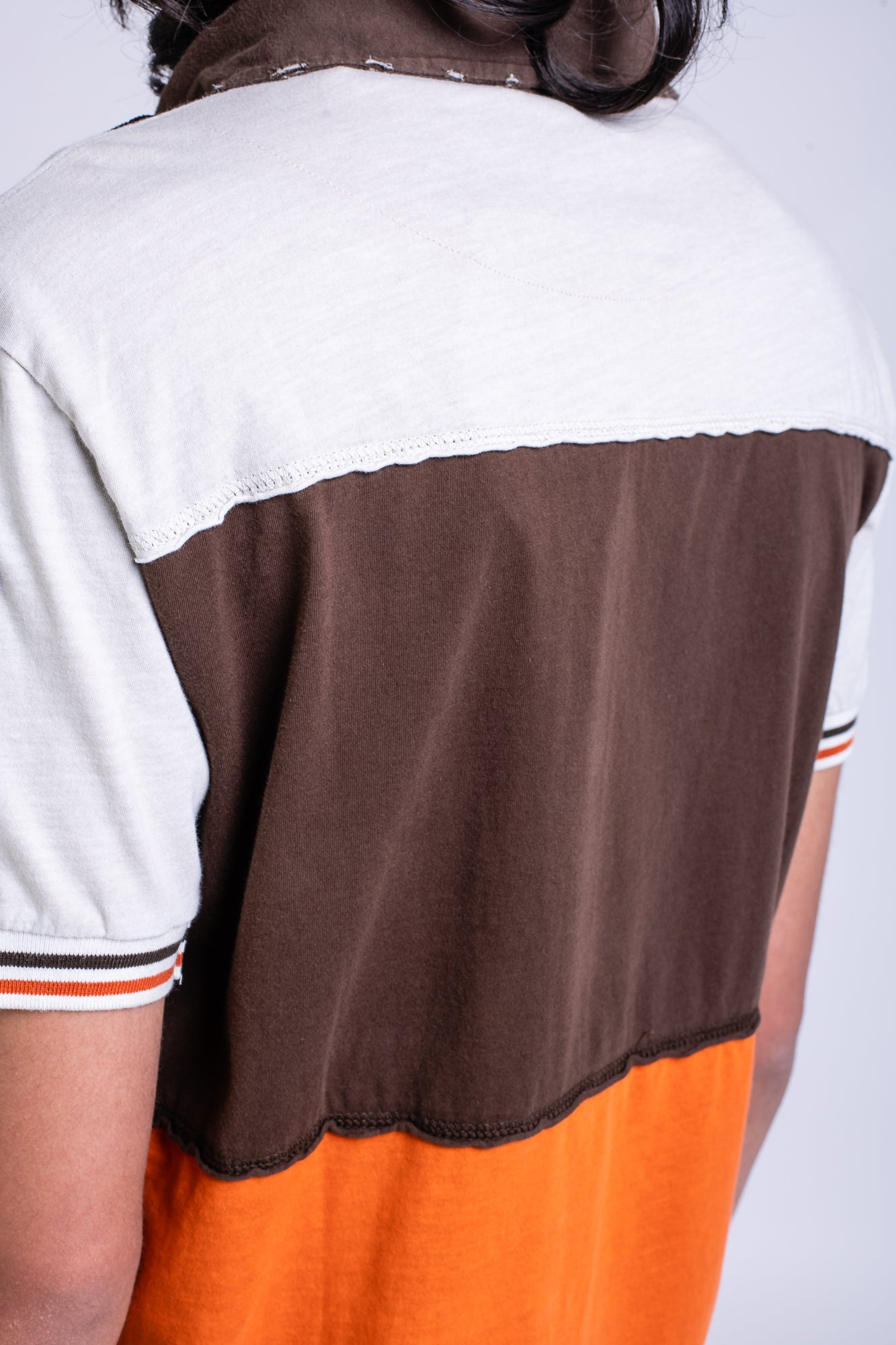TRI COLOUR POLO - BROWN