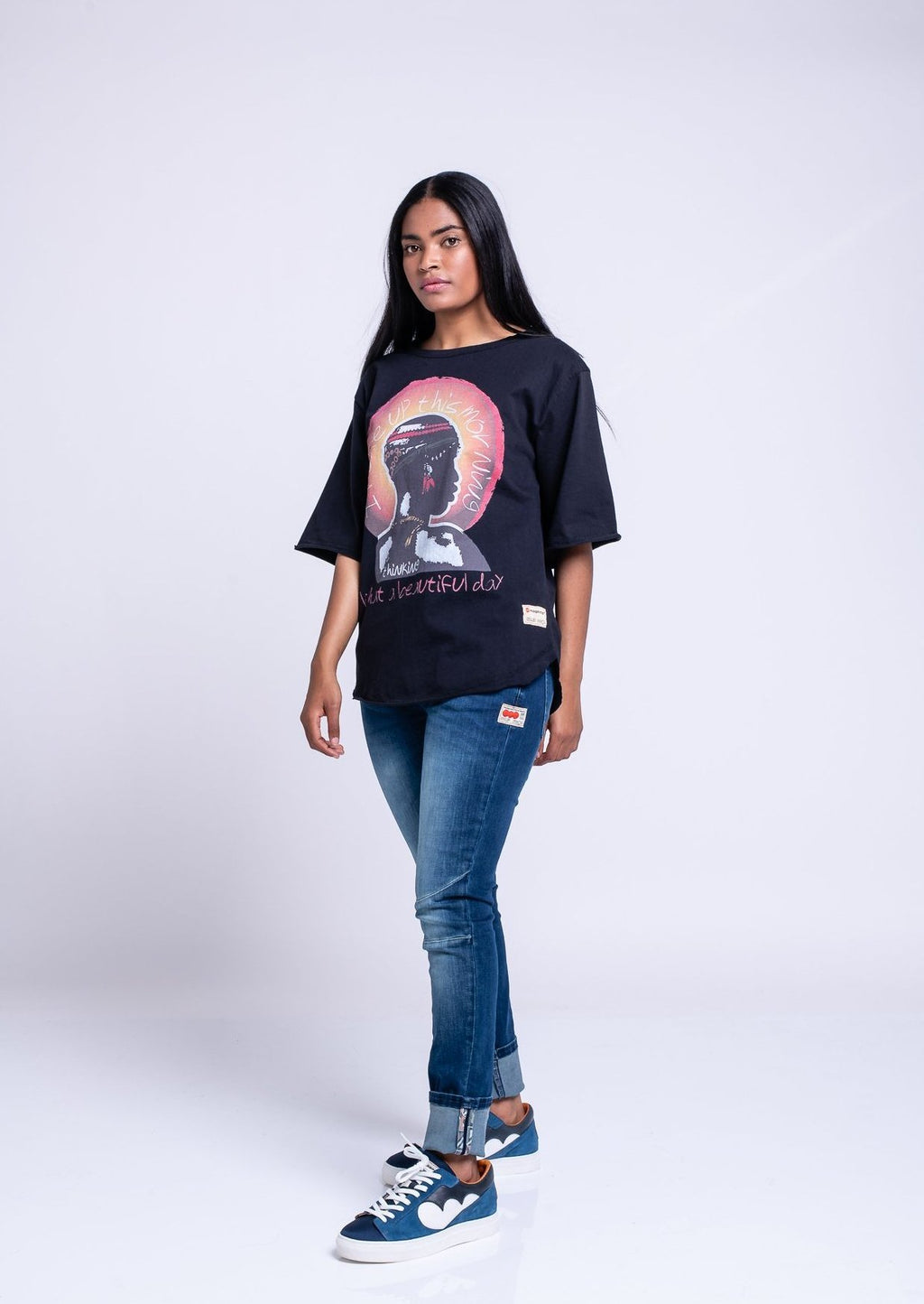 I WOKE UP OVERSIZED TEE - BLACK