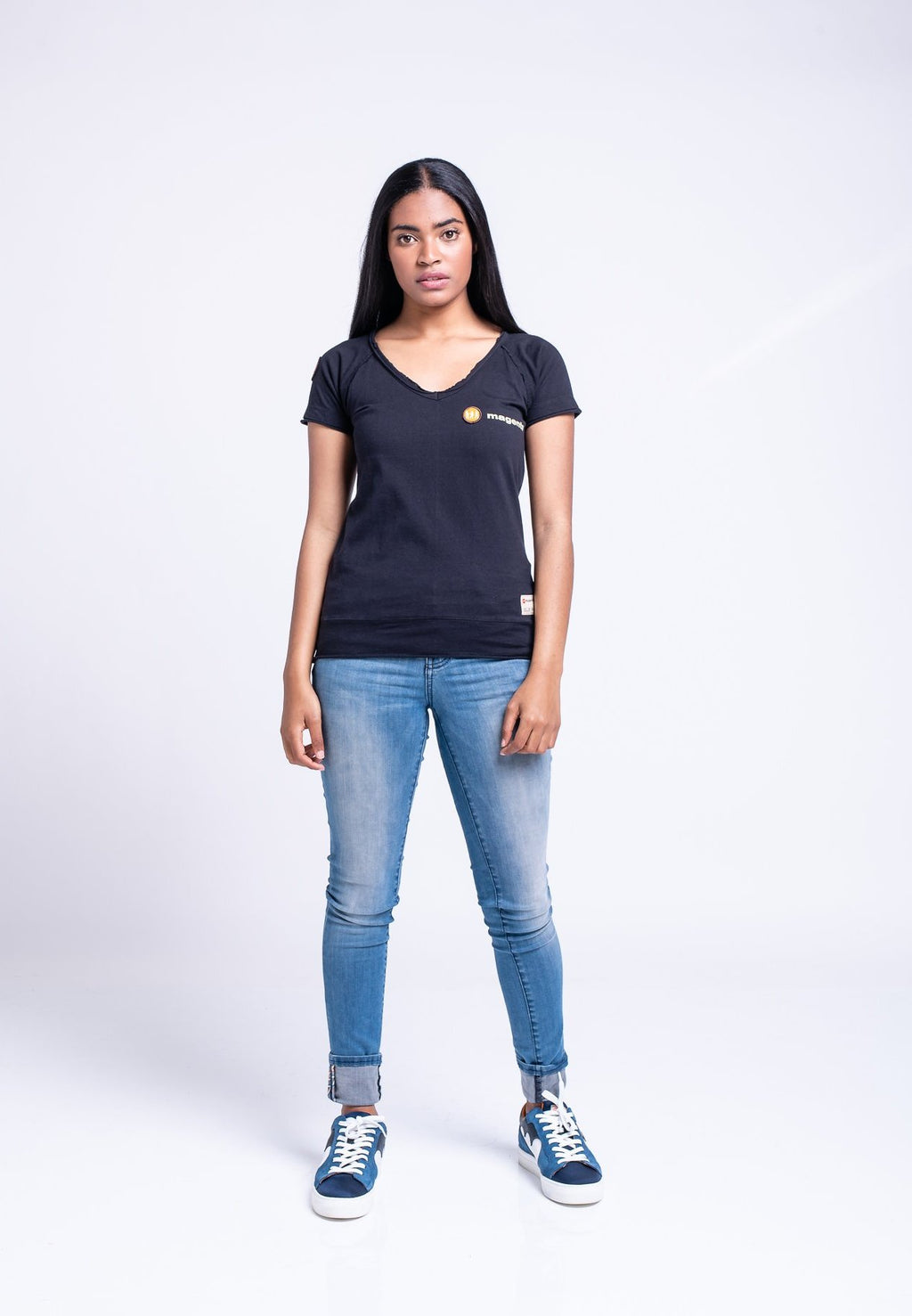 MAGENTS LADIES WIDE NECK TEE - BLACK