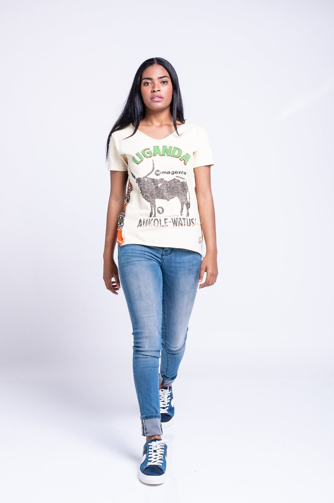 LADIES UGANDA TEE - YELLOW