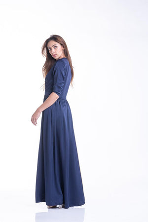 Sultry Satine Dress - Navy