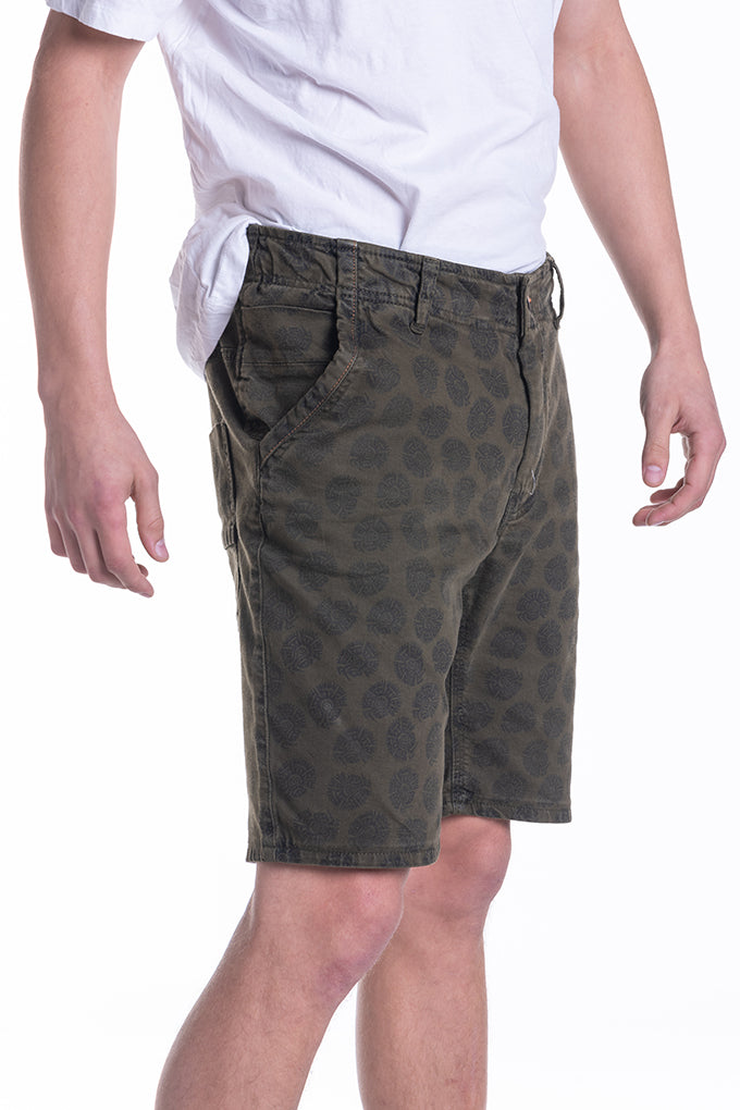 PRINTED COTTON TWILL SHORTS IN GREEN