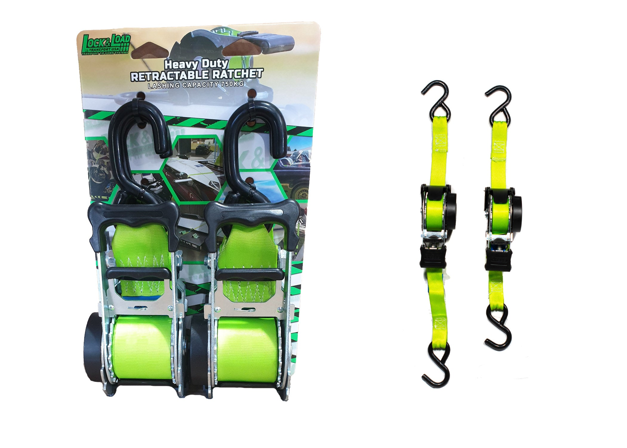 Retractable Ratchet Straps 50mm- RW16- (HEAVY DUTY)