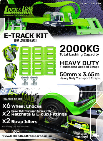 E-Track COMPLETE kit for lowered cars -Includes retractable ratchets