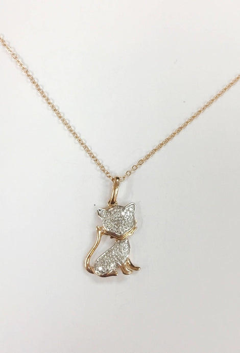 14k Rose Gold Diamond Kitty Necklace
