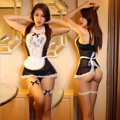 Maid Uniform Costumes Role Play Sexy Lingerie Hot Sexy Underwear Lovely Female White Lace Erotic Costume 25
