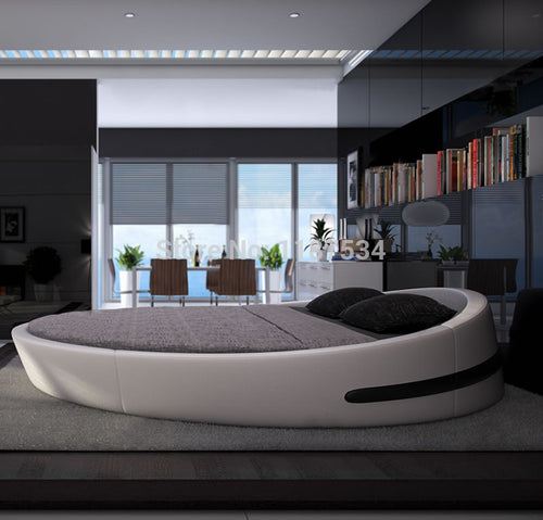 2018 NEW KING SIZE LARGE ROUND LEATHER BED