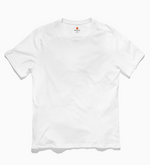 Load image into Gallery viewer, Front image of Stolmid White t-shirt. The shirt is plain white and the Stolmid logo is tagless, using the heat transfer method.