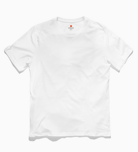 Front image of Stolmid White t-shirt. The shirt is plain white and the Stolmid logo is tagless, using the heat transfer method.