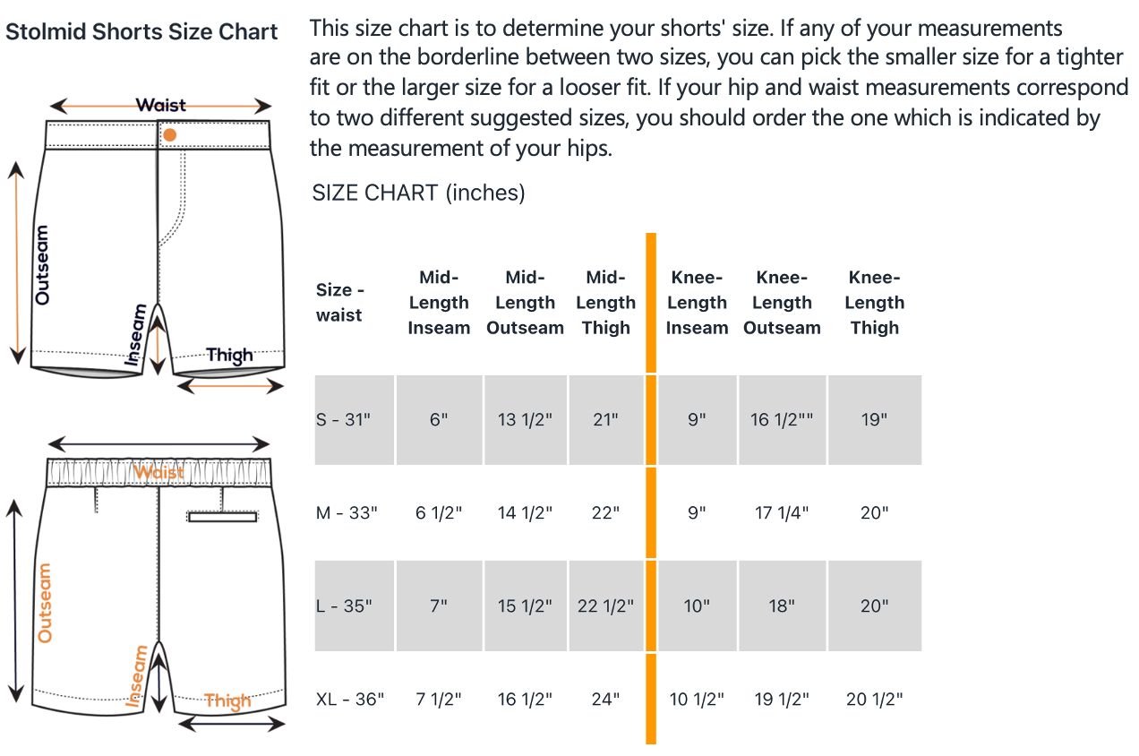 Size chart for Stolmid shorts