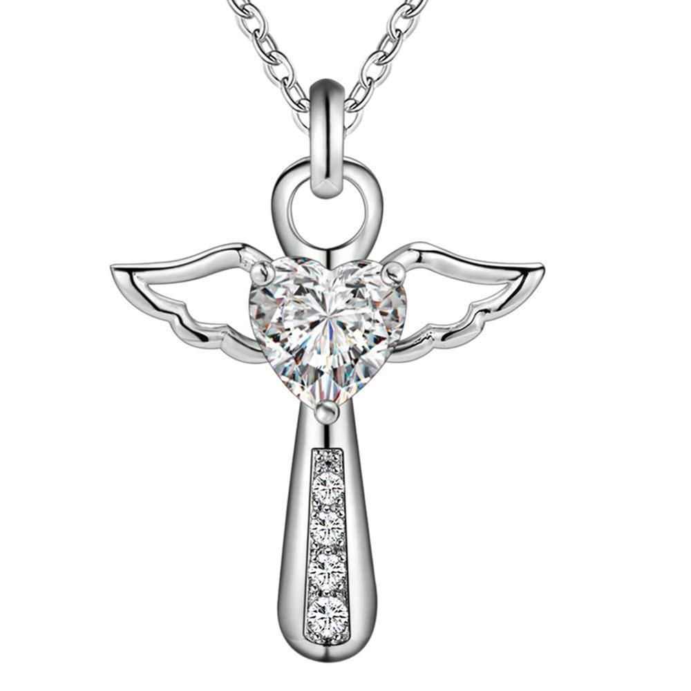 Winged Angel & Heart Crystal Necklace