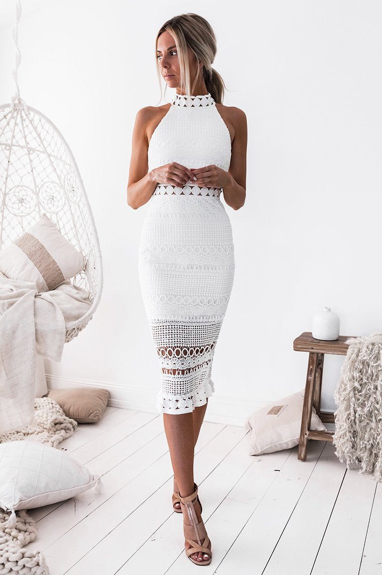 RIVERS MIDI DRESS - WHITE (PREORDER)