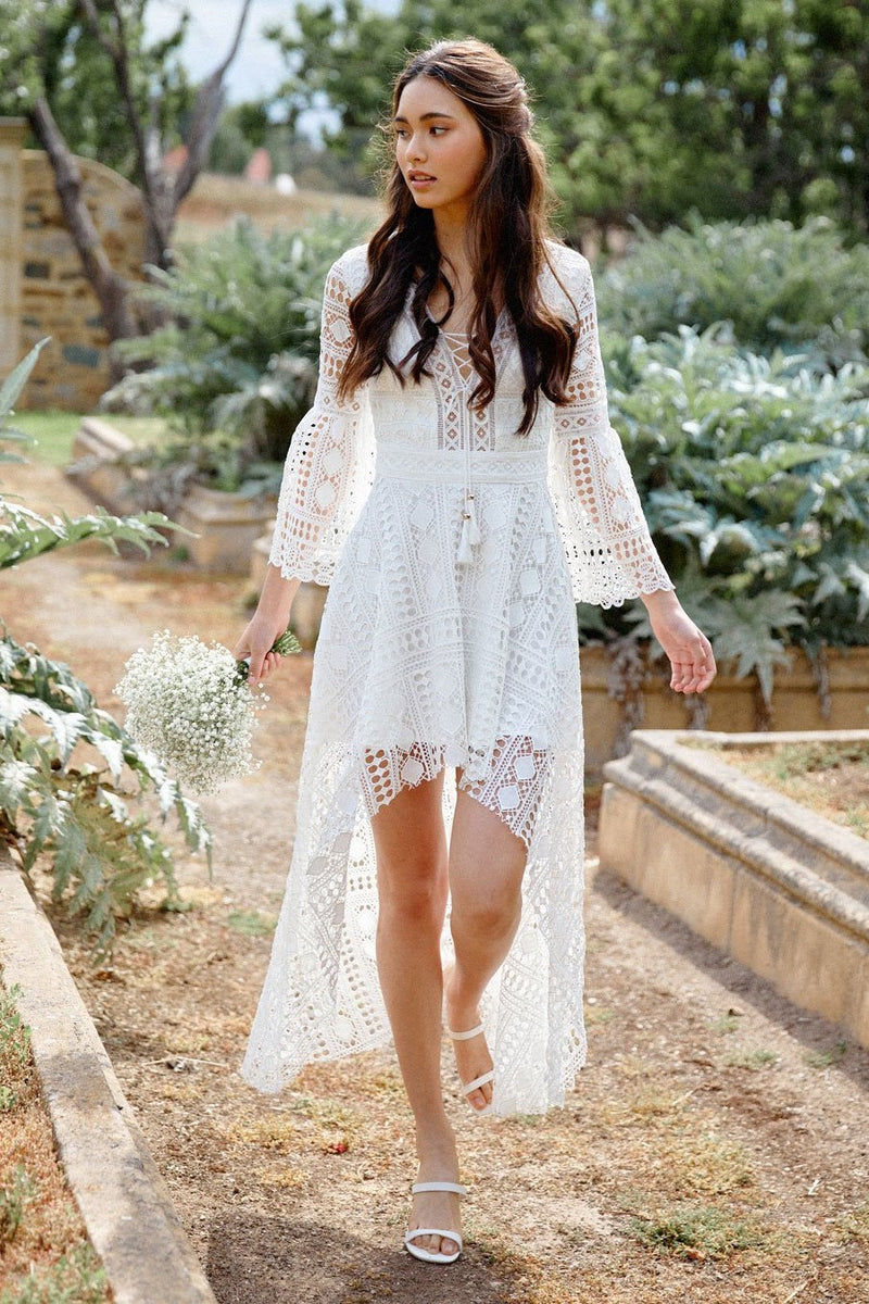 BOHO HIGH LOW DRESS - WHITE