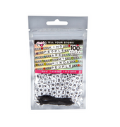 Tell Your Story Alphabet Bead Bag- White Cubes