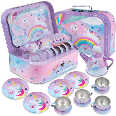 Cotton Candy Unicorn Tin Tea Set