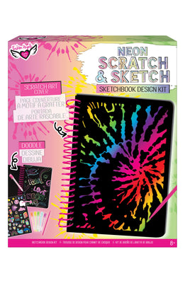 Neon Tie Dye Scratch & Sketch Sketch Book Design Kit