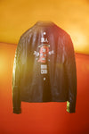 CROM art on leather. Printed leather jacket from Shores who specialise in wearable art.