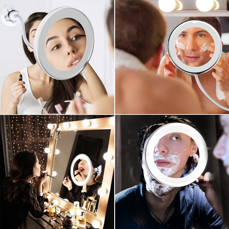 Flexi™ Mirror - 10X Magnifying Makeup & Shaving Mirror with LED Light