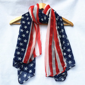 Chiffon American Flag Element Shawl Scarf - Red - 64 Corp