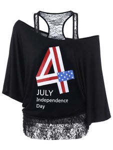 Lace Panel Funny 4th of July T-Shirts - Black - XL - 64 Corp