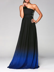 Rhinestone Sleeveless One-Shoulder Ombre Prom Dress - 64 Corp