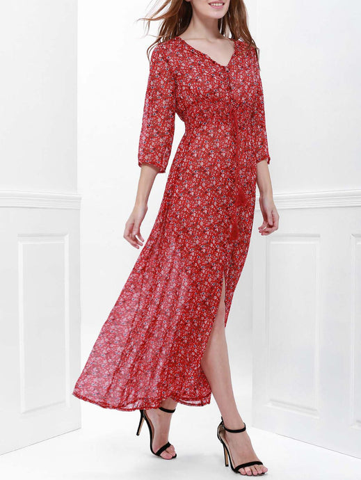 Printed High Slit Maxi Dress with Sleeves - Red - L - 64 Corp