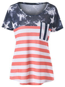 American Flag Simple Tee with Pocket - Red - 64 Corp