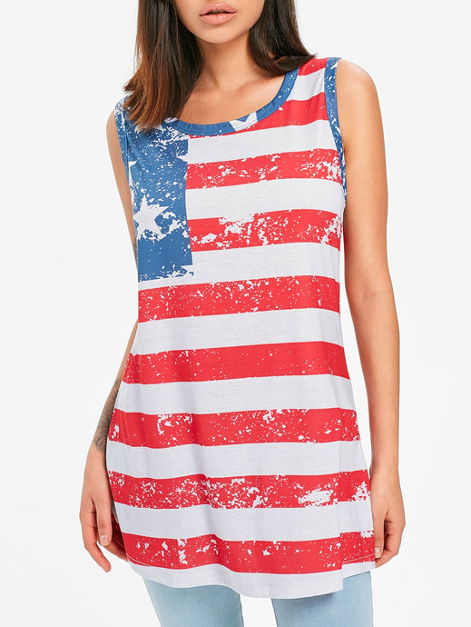 Patriotic High Low Tank Top - Red - 64 Corp