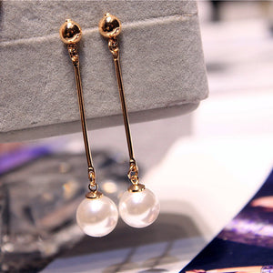 Korean Star The Same Paragraph Fashion Imitation Pearl Tassel Earrings Wholesale Jewelry Earrings Female Long Section  Vintage - 64 Corp