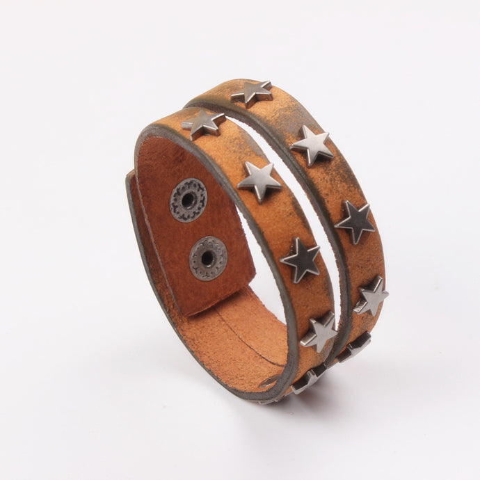 Latest Design Retro real Brown Cow Leather Male Bracelets Bangles Star Charm Bracelet  beloved  cowboy gift  Whloesale/retail - 64 Corp