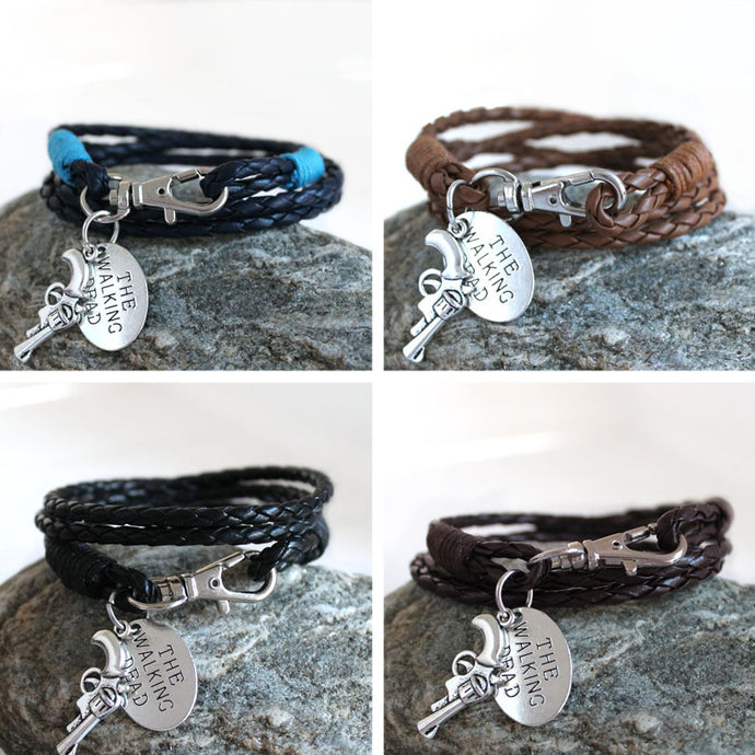 Fashion Jewelry THE WALKING DEAD PU Leather Charm Friendship Bracelets & Bangles Rick revolver Carl cowboys Men Jewelry gifts - 64 Corp